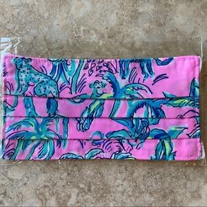 Lilly Pulitzer New Pink & Green Monkey Face Mask